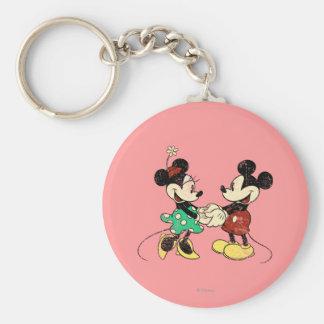 Vintage Mickey Mouse y Minnie Llavero Redondo Tipo Pin