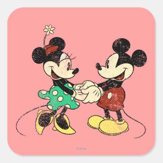 Vintage Mickey Mouse y Minnie Pegatina Cuadrada