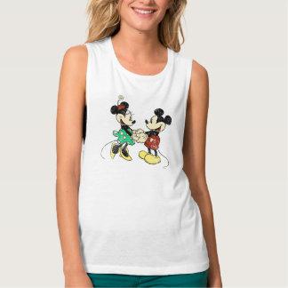 Vintage Mickey Mouse y Minnie Playera De Tirantes Anchos