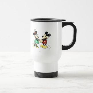 Vintage Mickey Mouse y Minnie Taza De Viaje De Acero Inoxidable