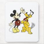 Vintage Mickey Mouse y Plutón Alfombrilla De Raton