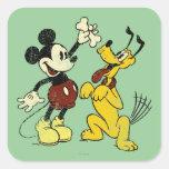 Vintage Mickey Mouse y Plutón Calcomanía Cuadradas