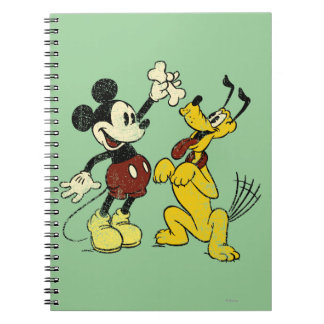 Vintage Mickey Mouse y Plutón Spiral Notebooks