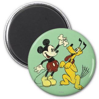 Vintage Mickey Mouse y Plutón Imán Redondo 5 Cm