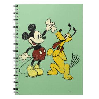 Vintage Mickey Mouse y Plutón Libros De Apuntes
