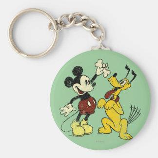 Vintage Mickey Mouse y Plutón Llavero Redondo Tipo Pin