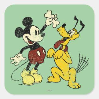 Vintage Mickey Mouse y Plutón Pegatina Cuadrada