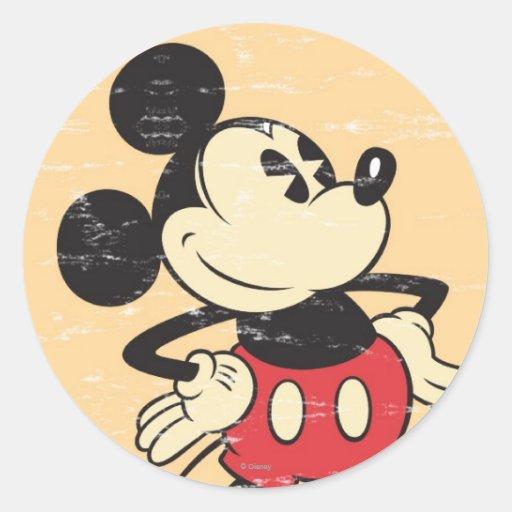 Vintage Mickey Pegatina Redonda
