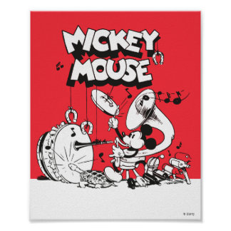 Vintage Mickey Silly Insturments Poster