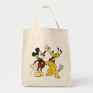 Vintage Mickey y Plutón de Mickey y de los amigos Bolsa Tela Para La Compra
