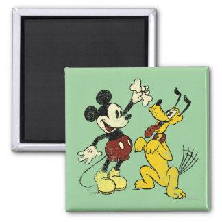 Vintage Mickey y Plutón de Mickey y de los amigos Imán Cuadrado