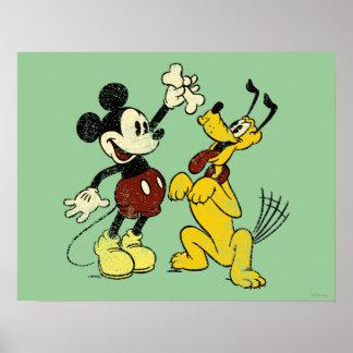 Vintage Mickey y Plutón de Mickey y de los amigos Póster