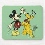 Vintage Mickey y Plutón de Mickey y de los amigos Tapetes De Ratones