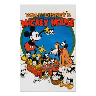 Vintage Mickey y Plutón Póster