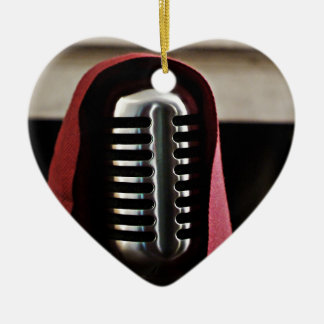 Vintage microphone cloak ceramic ornament