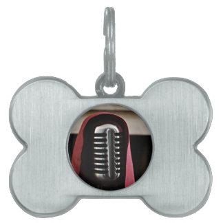 Vintage microphone cloak pet name tags