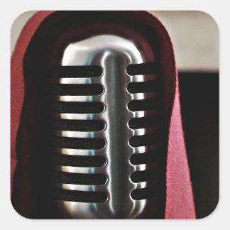 Vintage microphone cloak square sticker