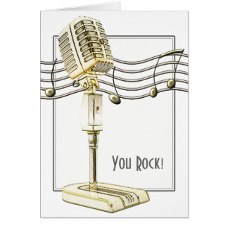 Vintage Microphone Greetings Card