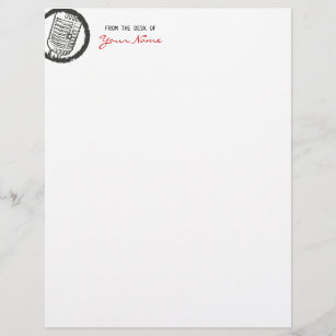 From the desk of letterhead zazzle vintage microphone letterhead spiritdancerdesigns Images
