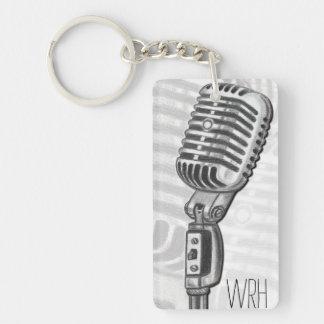 Vintage Microphone Monogram Customizable Keychain
