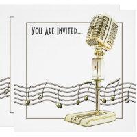 Vintage Microphone Music Invitation