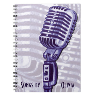 Vintage Microphone Personalized Lyric Book Spiral Notebook