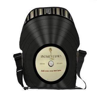 Vintage Microphone Vinyl Record Messenger Bag