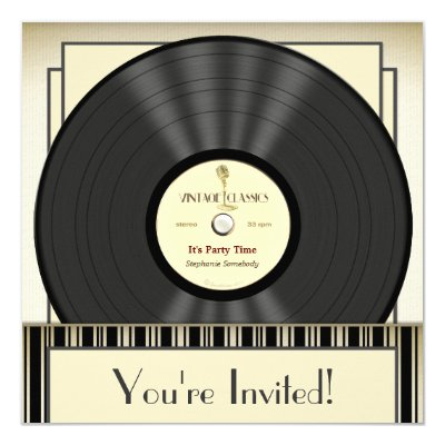 Vintage Microphone Vinyl Record Party Invitations Zazzlecom