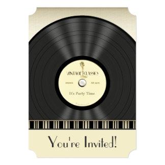 Vintage Microphone Vinyl Record Party Invitations
