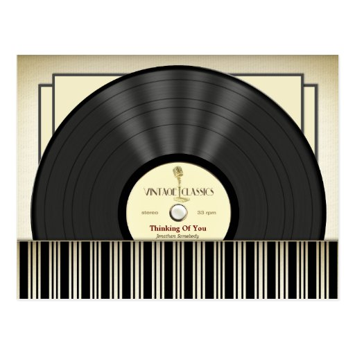 Vintage Microphone Vinyl Record Personalized Post Card