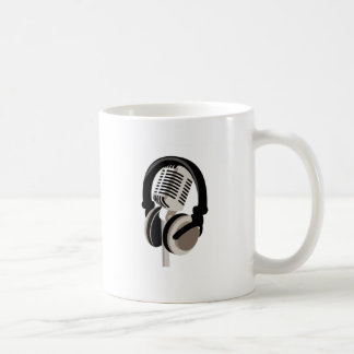 Vintage Microphone with Headphones Coffee Mug