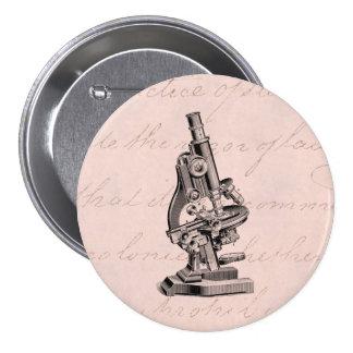 Vintage Microscope Illustration Pink Steampunk 3 Inch Round Button