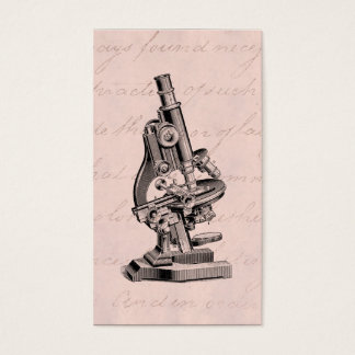 Vintage Microscope Illustration Pink Steampunk Business Card