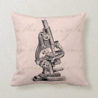 Vintage Microscope Illustration Pink Steampunk Throw Pillow