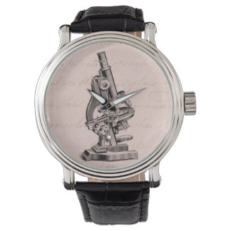 Vintage Microscope Illustration Pink Steampunk Watch