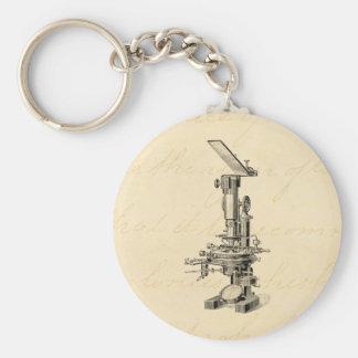Vintage Microscope Illustration Retro Microscopes Keychain
