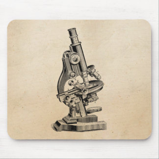 Vintage Microscope Illustration Retro Steampunk Mouse Pad