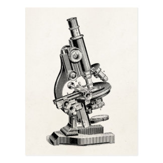 Vintage Microscope Illustration Retro Steampunk Postcard