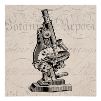 Vintage Microscope Illustration Retro Steampunk Poster