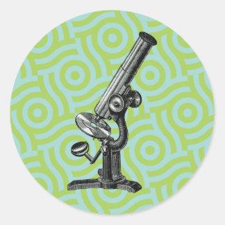 Vintage Microscope Pop Art Round Stickers