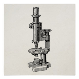 Vintage Microscopes Old Antique Science Microscope Print
