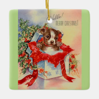Vintage Mid Century Beautiful Baby Boston Terrier Ceramic Ornament