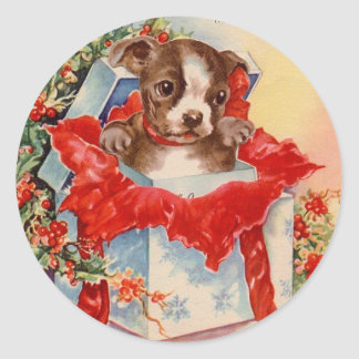 Vintage Mid Century Beautiful Baby Boston Terrier Classic Round Sticker