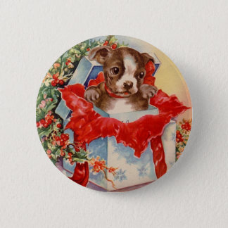 Vintage Mid Century Beautiful Baby Boston Terrier Pinback Button