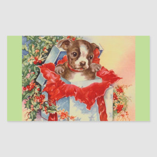 Vintage Mid Century Beautiful Baby Boston Terrier Rectangular Sticker
