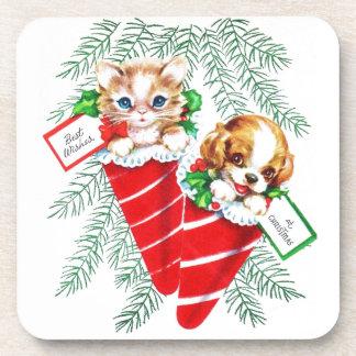 Vintage Mid Century Beautiful Baby Puppy Kitten Drink Coaster