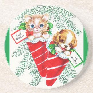 Vintage Mid Century Beautiful Baby Puppy Kitten Sandstone Coaster