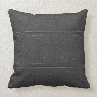 Vintage Mid-Gray Worn-Out Faux Leather Look Throw Pillow