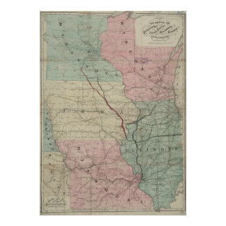Vintage Midwestern United States Railroad Map Poster