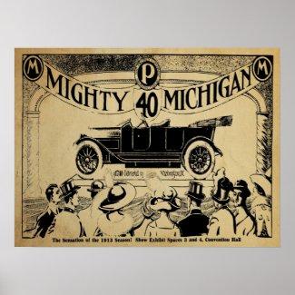 Vintage Mighty Michigan 40 Automobile Print